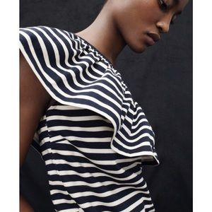 J. Crew Striped One-Shoulder Ruffled Top